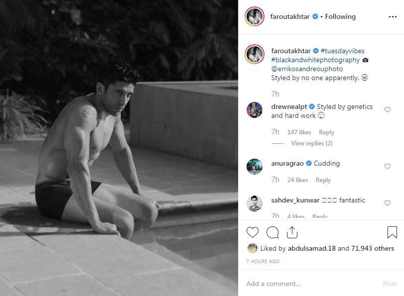 Drew Neal's comment on Farhan Akhtar's Instagram post