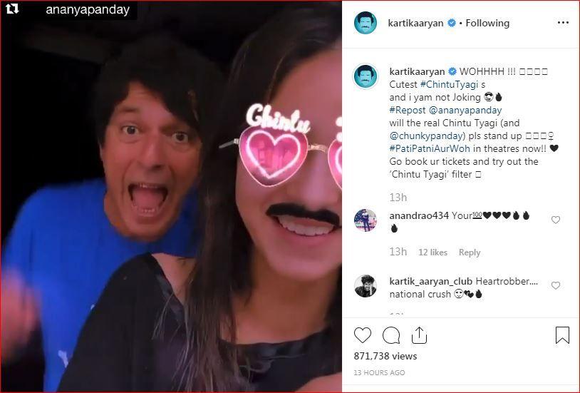 "Kartik Aaryan tags Ananya and Chunky Panday as the ""cutest Chintu Tyagi's"""