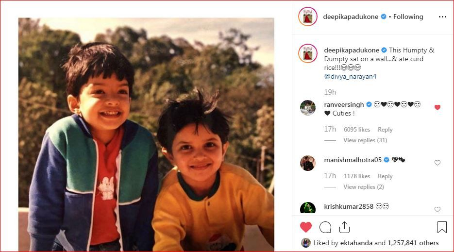 Ranveer Singh's comment on actor-wife Deepika Padukone's childhood picture