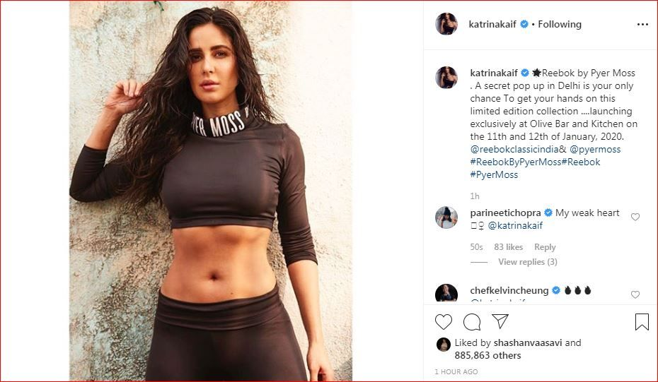 Parineeti Chopra's comment on Katrina Kaif's Instagram picture