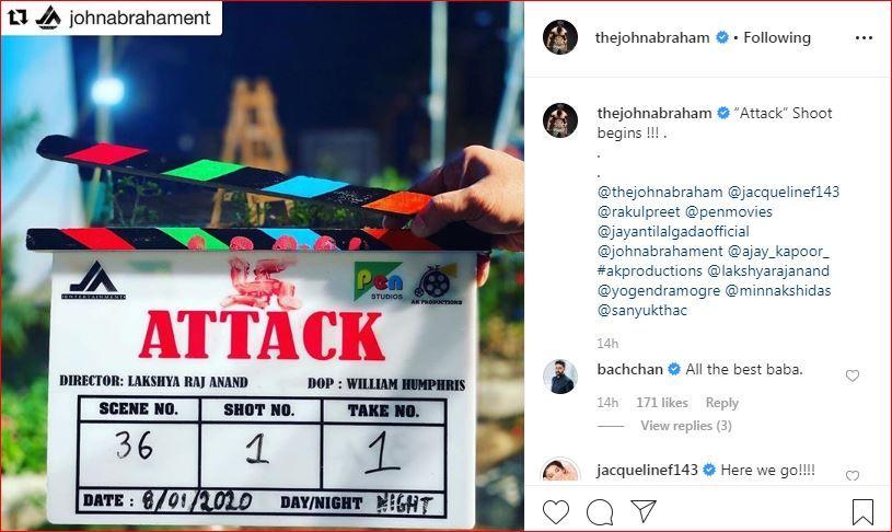 Abhishek Bachchan and Jacqueline Fernandez' comments on John Abraham's Instagram post