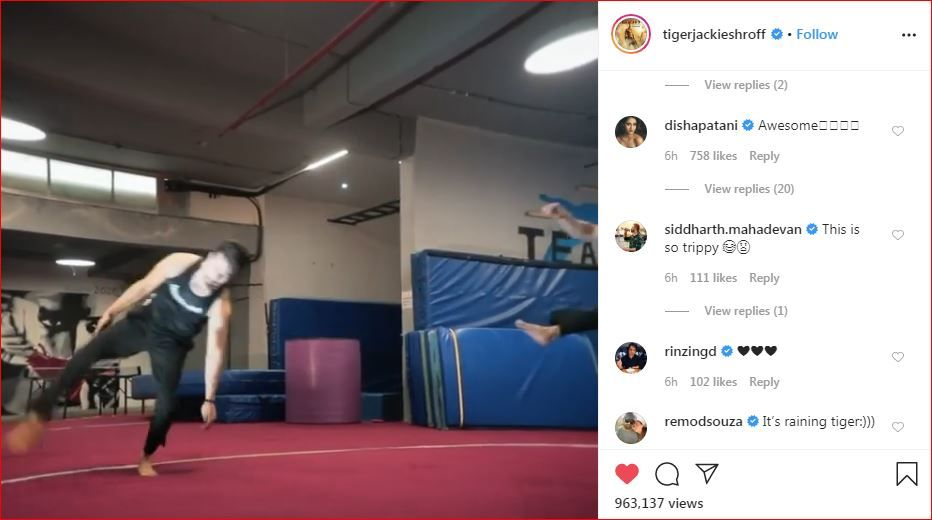 Disha Patani's comment on Tiger Shroff's Instagram post