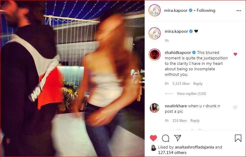 Shahid Kapoor's comment on Mira Rajput Kapoor's Instagram post