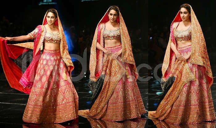 Sara Ali Khan Turns Bride For Designer Duo Abu Jani Sandeep Khosla Looks Stunning In Her Pink Red Lehenga India Com