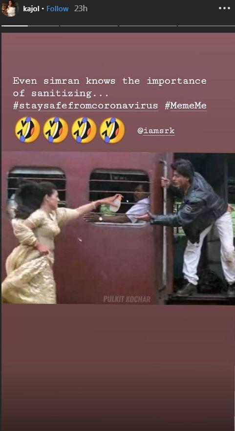 Coronavirus Scare Kajol Shares Her Meme With Ddlj Sanitizer Twist