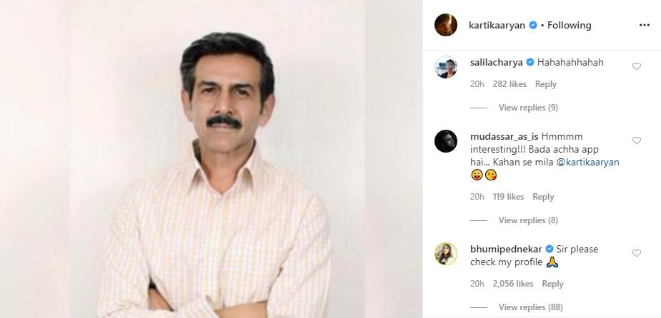 Bhumi Pednekar's comment on Kartik Aaryan's Instagram post