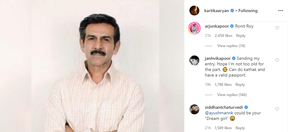 Arjun Kapoor, Janhvi Kapoor and Siddhant Chaturvedi's comment on Kartik Aaryan's Instagram post