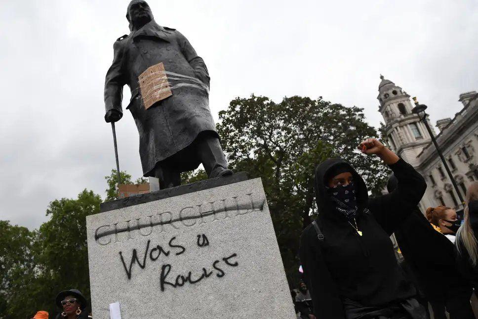 Churchill's statue defaced in London's Parliament Square
