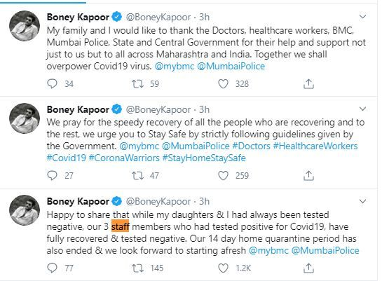 Boney Kapoor, Janhvi Kapoor and Khushis 14-day home quarantine ends