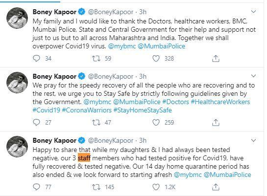 Boney Kapoor, Janhvi Kapoor and Khushis 14-day home quarantine ends
