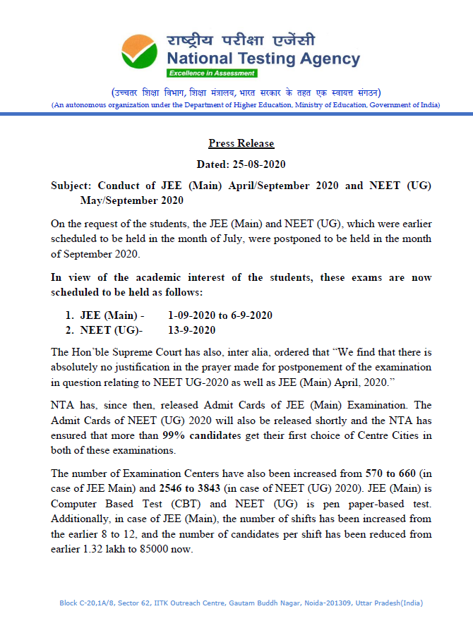 Neet Jee Main 2020 Will Be Held As Per Schedule Nta Issues Fresh Notification Amid Requests To Postpone Exams