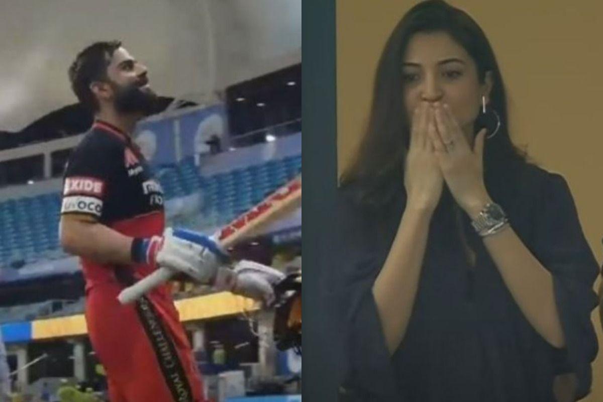 IPL 2020 CSK VS RCB: Anushka Sharma Smiles, Gives Flying Kisses To Virat Kohli as He Scores 90 Not Out
