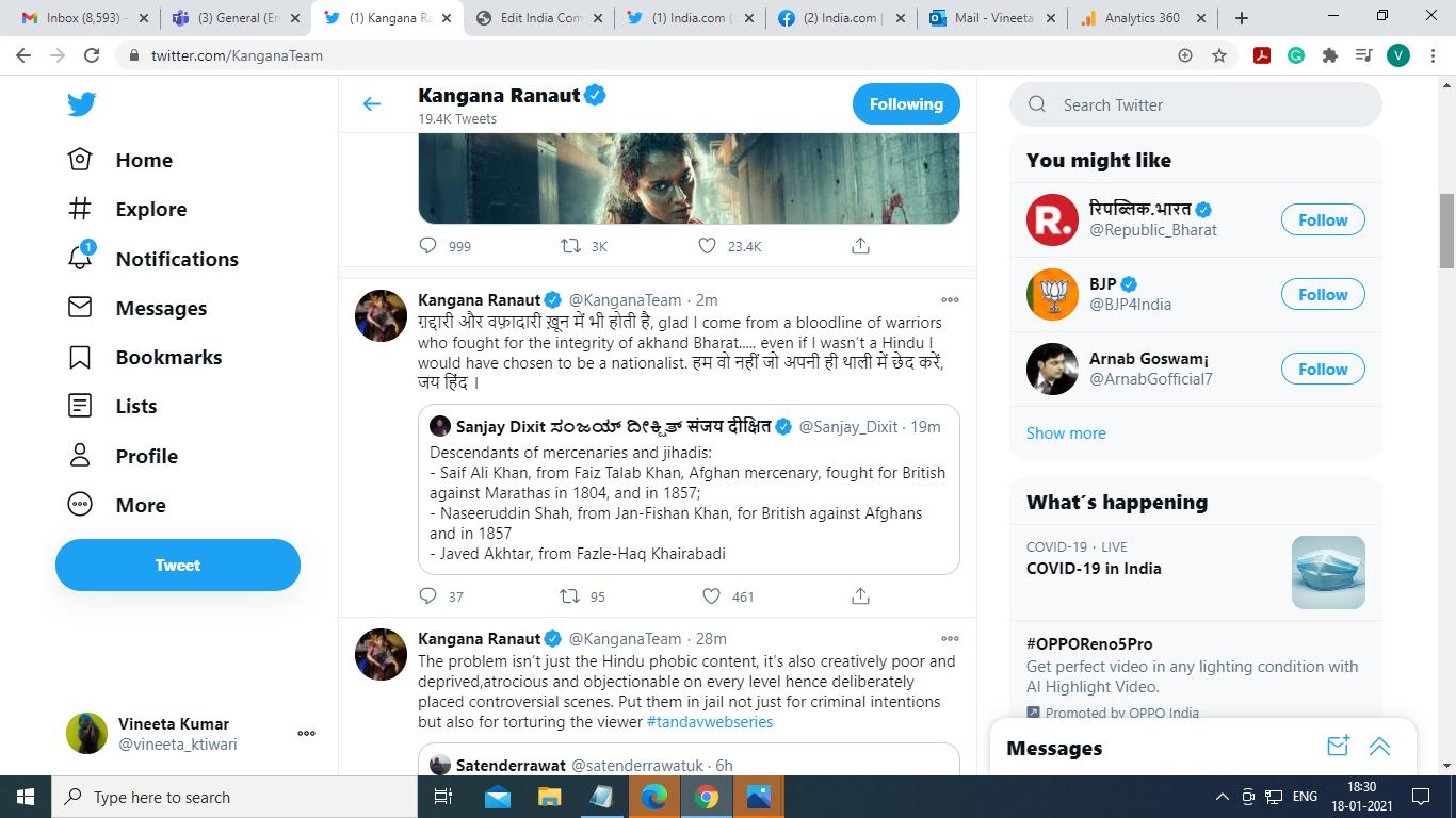 Kangana's tweet on Tandav Row
