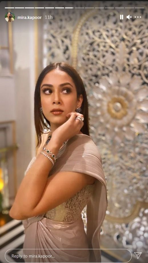 Mira Kapoor in Rs 78,500 Metallic Saree Raises The Glamour Quotient in Her BFF's Wedding