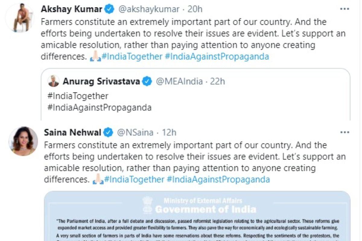 Akshay Kumar-Saina Nehwal's 'Propaganda' Tweet Are Copied Word-to-Word, Too Much For 'India Together'?