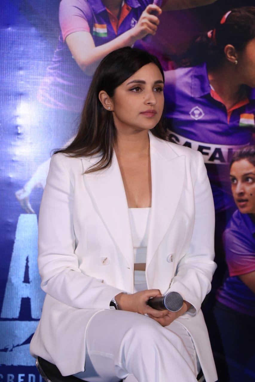 Parineeti Chopra During Saina Trailer Launch in White Pantsuit And Crop Top.