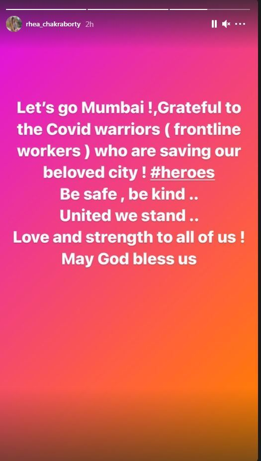 Rhea Chakraborty has expressed her gratitude towards the frontline workers