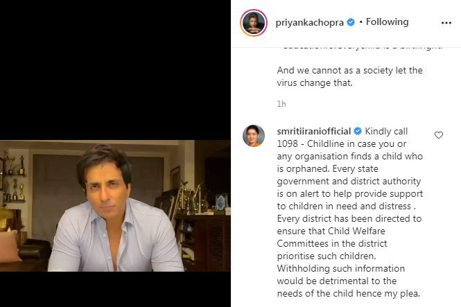 Smriti Irani's comment on Priyanka Chopra Post As she extends her support to Sonu Sood