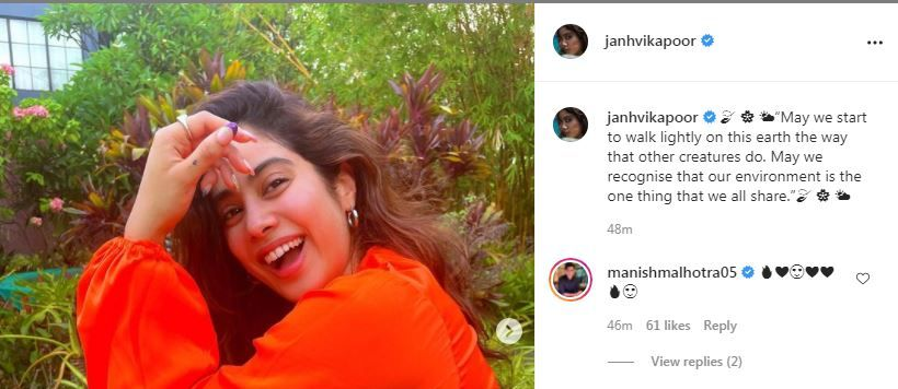 Manish Malhotra drops hearts on Janhvi Kapoor's post