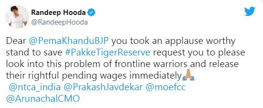 Randeep Hooda's tweet