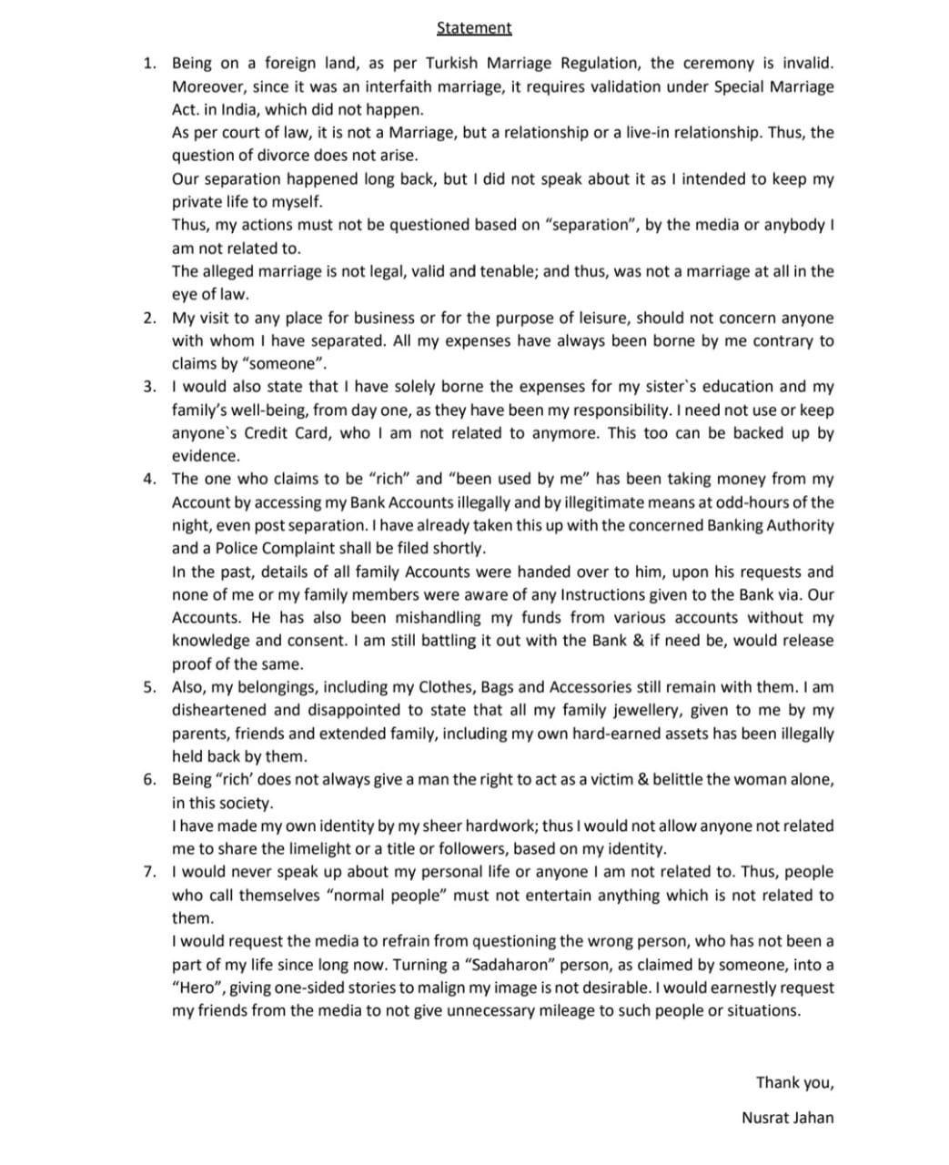 Nusrat Jhan's Full Explosive Statement