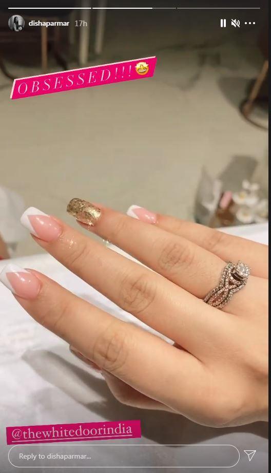 Disha Parmar's beautiful diamond studded engagement ring