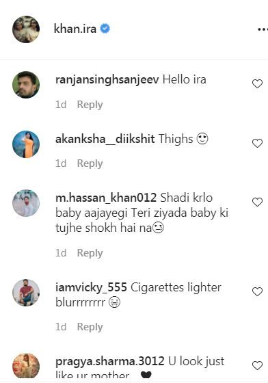 Ira Khan's comment section