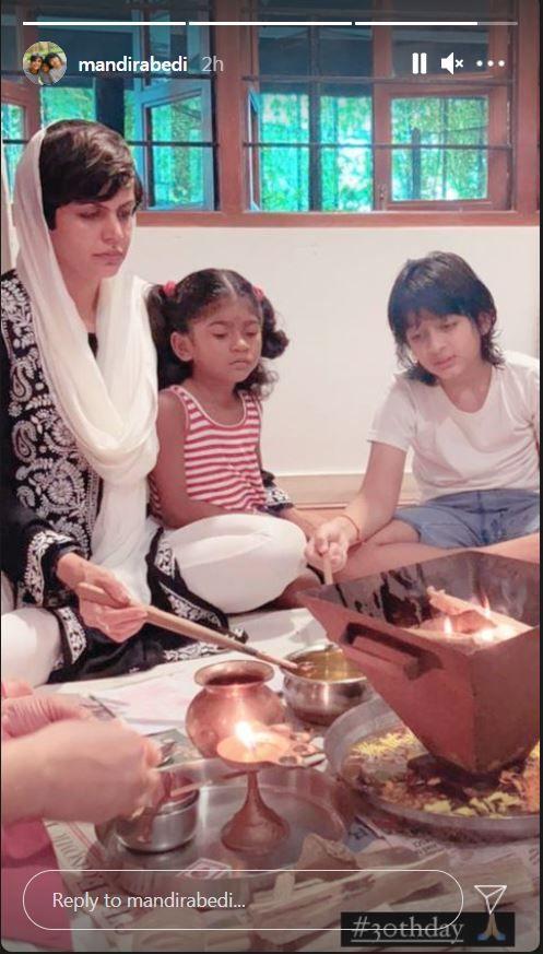 Mandira Bedi And Kids Vir And Tara Perform 30th Day Pooja in Memory of Late Raj Kaushal