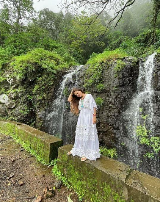 Rubina Dilaik by the waterfall