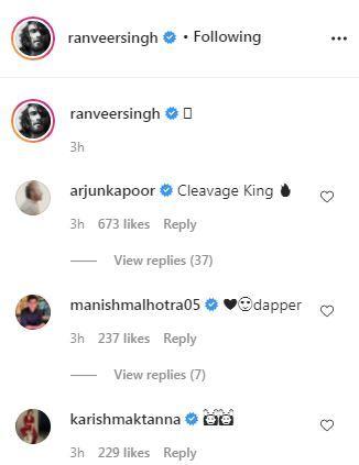 Arjun Kapoor and Deepika Padukone React on Ranveer's post