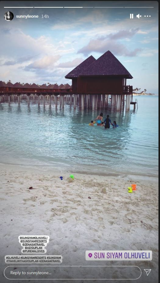 Sunny Leone Vacays In Maldives with husband Daniel Weber and their children.