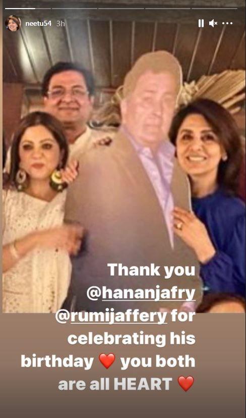 Neetu Kapoor held Rishi Kapoor's cutout| PC: Neetu Kapoor Instagram