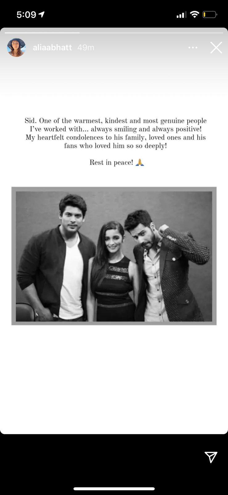 Alia Bhatt Pens Emotional Note For Sidharth Shukla: He Was Warmest, Kindest, Most Genuine