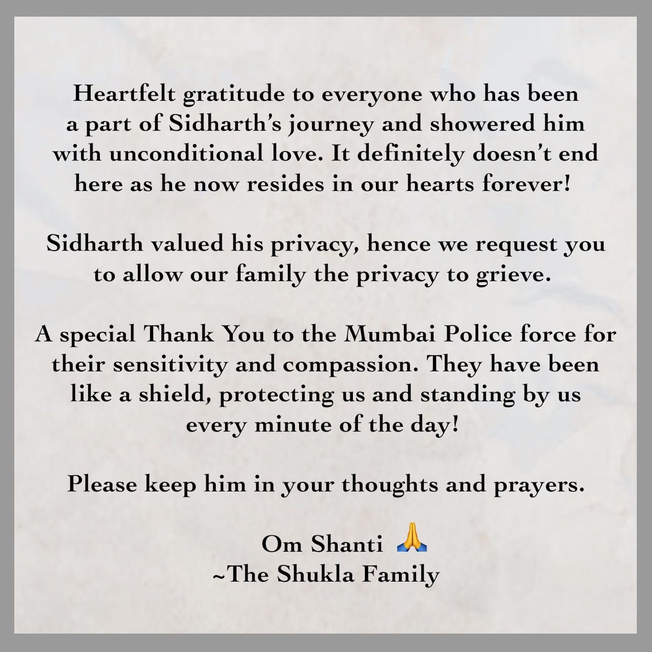 Sidharth Shukla's Family Releases Official Statement After his Demise