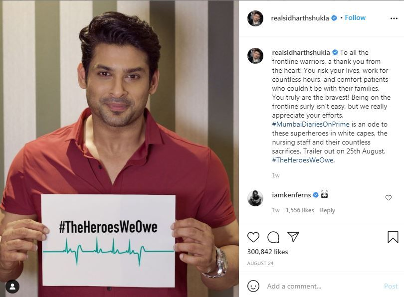 sidharth Shukla Instagram post was last updated on August 24
